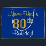 Elegant Blue Faux Gold 80th Birthday Name Large Gift Bagbr
