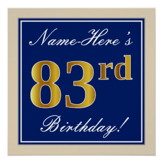Elegant, Blue, Faux Gold 83rd Birthday + Name Poster