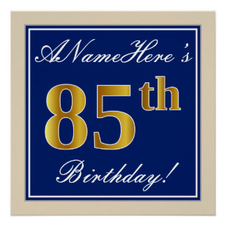 Elegant, Blue, Faux Gold 85th Birthday + Name Poster