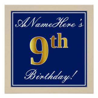 Elegant, Blue, Faux Gold 9th Birthday; Custom Name Poster