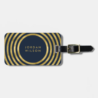 Elegant Blue & Faux Gold Circles Geometric Lines Luggage Tag