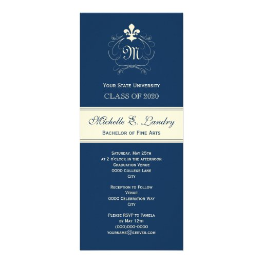 Elegant Blue Fleur de Lis Formal Graduation Invitation