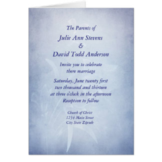 Elegant Blue Floarl Wedding Invitaion Greeting Card
