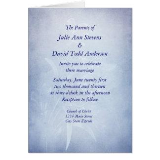 Elegant Blue Floarl Wedding Invitaion Greeting Card