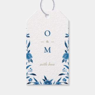 Elegant blue floral Chinoiserie Wedding monogram