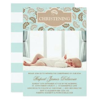 Elegant Blue Floral Christening Photo Invitation