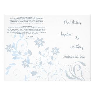 Elegant Blue Floral Formal Wedding Program 21.5 Cm X 28 Cm Flyer