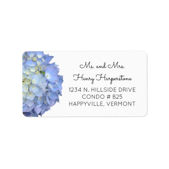 Elegant Blue Floral Hydrangea Black Text Label Address Label