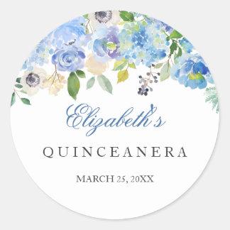 Elegant Blue Floral Quinceanera Sticker