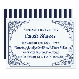 Elegant Blue flourish swirl frame Couple Shower Card