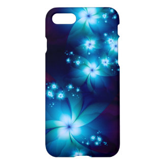 Elegant blue Fractal Flowers iPhone 8/7 Case