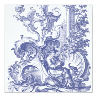 Elegant Blue French Baroque Toile Card