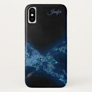 Elegant Blue Glitter Monogram iPhone X Case