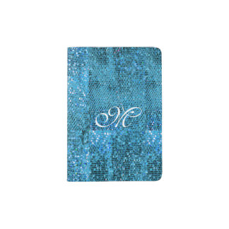 Elegant  Blue Glitter Monogram Passport Holder
