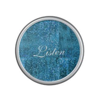 Elegant  Blue Glitter Monogram Speaker