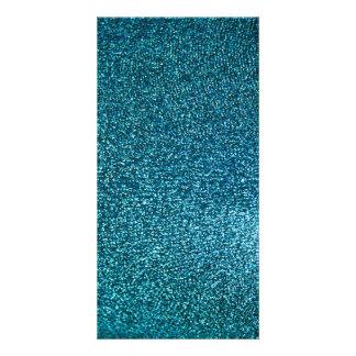 Elegant blue glitter customized photo card