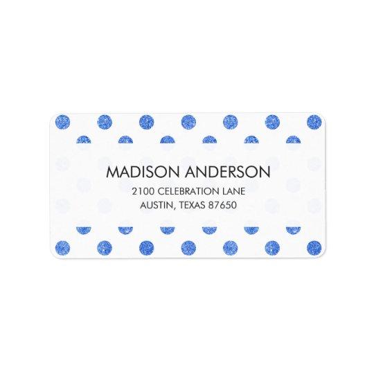 Elegant Blue Glitter Polka Dots Pattern Label