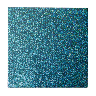 Elegant blue glitter small square tile
