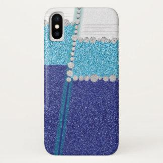 Elegant Blue Glitter Stripes iPhone X Case