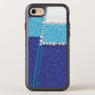 Elegant Blue Glitter Stripes OtterBox Symmetry iPhone 7 Case