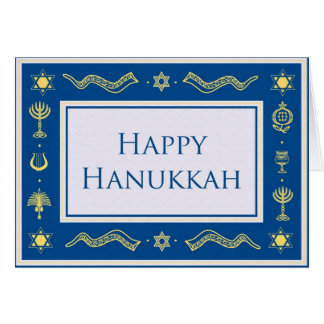 Elegant blue & gold happy hanukkah greeting card