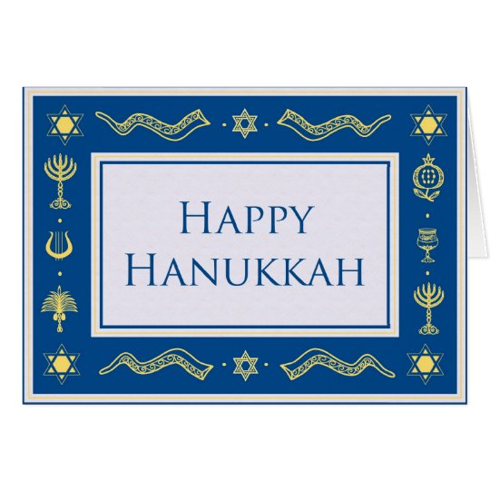 Elegant blue & gold happy hanukkah greeting card