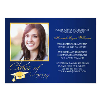 "Elegant Blue Gold Photo Graduation Announcement 5"" X 7"" Invitation Card"