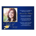 Elegant Blue Gold Photo Graduation Announcement 11 Cm X 16 Cm Invitation Card