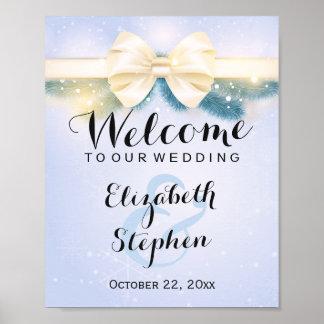 Elegant Blue Gold Ribbon Pines Floral Wedding Sign Poster