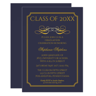 Elegant Blue | Gold University Graduation Party 13 Cm X 18 Cm Invitation Card