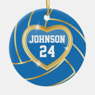 Elegant Blue & Gold Volleyball | DIY Name & Number Christmas Ornament