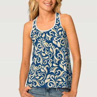 Elegant Blue golden Damask floral pattern Tank Top