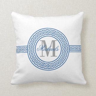 Elegant Blue Greek Key Monogram Pillow