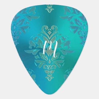 Elegant Blue Green Damask Guitar Pick