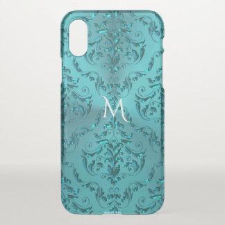 Elegant Blue Green Metallic Damask Monogram iPhone X Case
