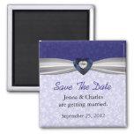 Elegant Blue Heart Diamond Save the Date Magnet