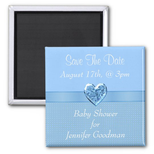 Elegant Blue Heart Jewel Save The Date Baby Shower Square Magnet