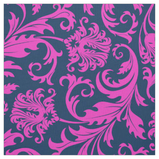 Elegant Blue & Hot Pink Floral Damasks Fabric