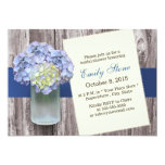Elegant Blue Hydrangea & Mason Jar Bridal Shower Custom Invitation