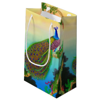 Elegant Blue Indian Peacock Gift Bag