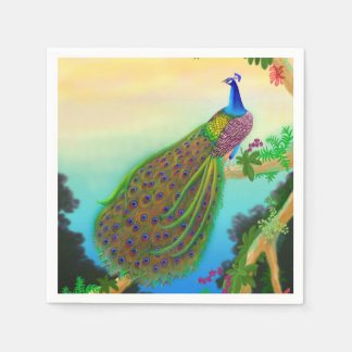 Elegant Blue Indian Peacock Napkins Paper Napkins