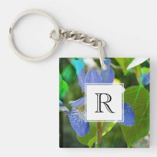 Elegant Blue Irises Pretty Summer Garden Photo Double-Sided Square Acrylic Key Ring