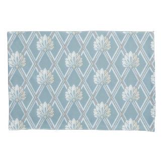 Elegant Blue Lattice Ivory Feather Fans Pattern Pillowcase