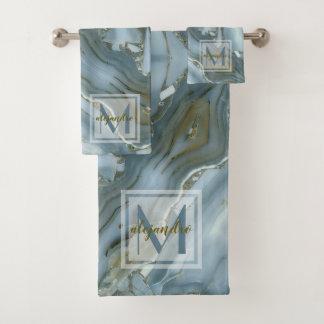 Elegant Blue Marble Natural Stone Pattern Monogram Bath Towel Set