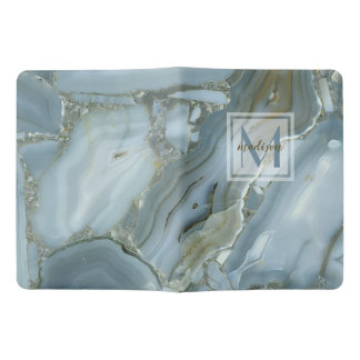 Elegant Blue Marble Natural Stone Pattern Monogram Extra Large Moleskine Notebook