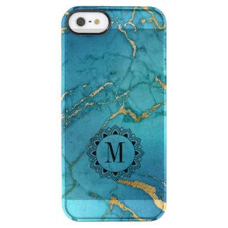 Elegant Blue  Marble Stone Monogram Clear iPhone SE/5/5s Case
