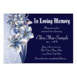 Elegant Blue Memorial Service Announcements 13 Cm X 18 Cm Invitation Card