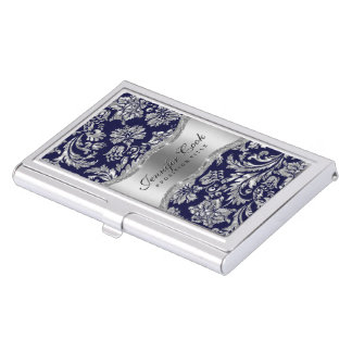 Elegant Blue & Metallic Silver Vintage Damasks 2 Business Card Holders