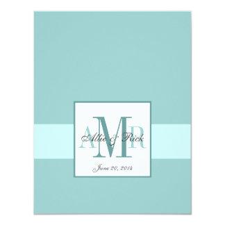 Elegant  Blue Monogram Wedding RSVP 11 Cm X 14 Cm Invitation Card
