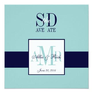 Elegant Blue Navy Save the Date Cards 13 Cm X 13 Cm Square Invitation Card